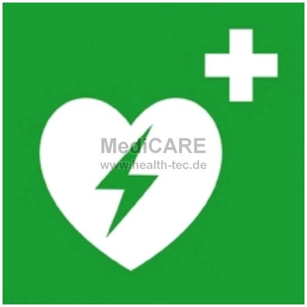 """DIN-Schild """"Defibrillatorstandort"""" Maße: 20x20 cm, auf Bildseite klebend"""