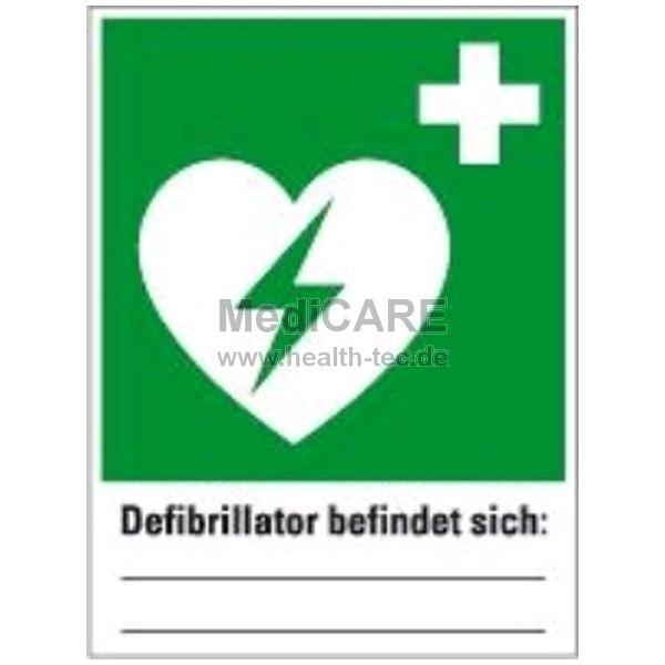 DIN-Schild Defibrillator + Beschriftung Zeichen-Maße: 300x400mm