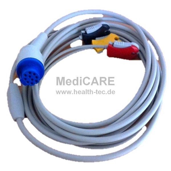 EKG-Kabel, 3-polig mit Clips für Cardiolog / CardioAid / DMS