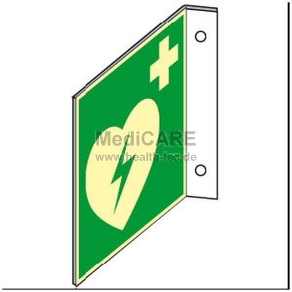 Fahnenschild zur Montage, winklig AED DIN-Schild Defibrillatorstandort