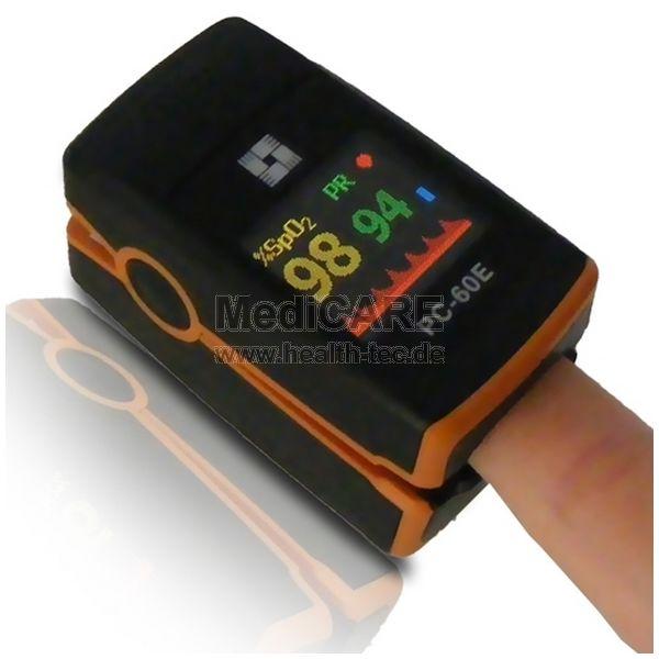 Fingerpulsoximeter für Erw. und Kinder Modell: PC60E / Farbe: schwarz/orange