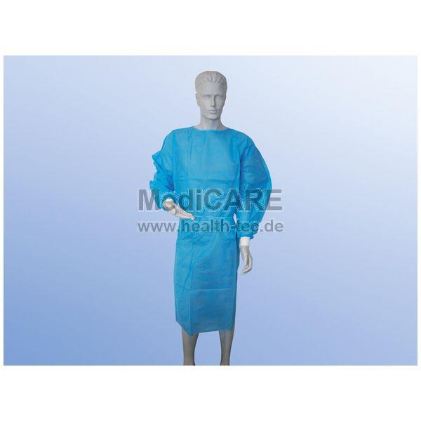 Besucherkittel, Farbe blau, VE=10 Stück, mit Strickbündchen, Material PP/PE