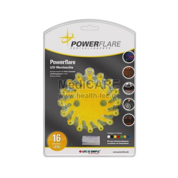 Powerflare LED Warnleuchte mit Lithium Batterie, Farbe: gelb