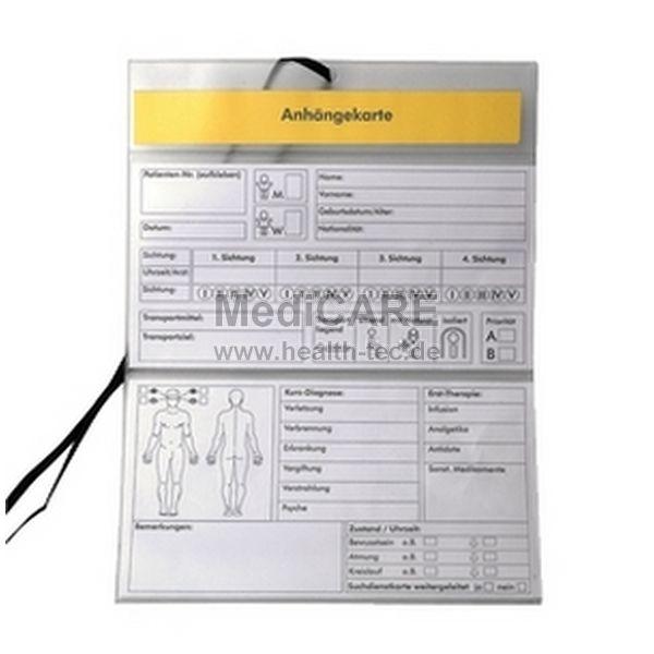 Anhängekarte für Verletzte Folie mit Farbcode Bedruckte Folienhülle mit Umhängeband